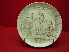Jolie ancienne assiette, fable, Le Chêne et le Roseau, Creil et Montereau
