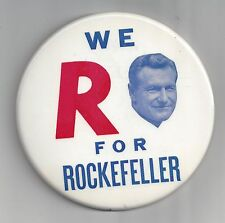 """LARGE 6"""" 1960s NELSON ROCKEFELLER OF NY PICTURE CAMPAIGN BUTTON"""