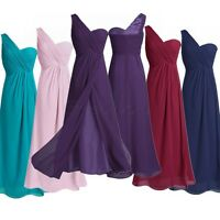 Women's One Shoulder Chiffon Long Bridesmaid Dress Formal Evening Prom Dresses