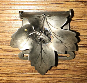 Antique Shiebler Sterling Silver Leaf Beetle Pearl Suspender Clip Tiffany Style