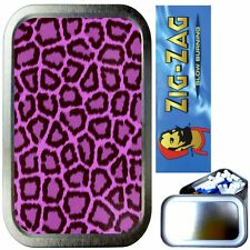 PURPLE LEOPARD SKIN SMOKING SET, SILVER 1oz TOBACCO TIN, ZIG ZAG PAPERS, FILTERS