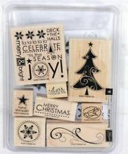 Stampin Up! Season of Joy Wood Mounted Red Rubber Stamp Set Incomplete!