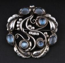GEORG JENSEN Sterling Silver Moonlight Brooch #159 w. Moonstones DENMARK 3531541