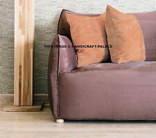"Indian Cushion Cover Beige Solid Home Decor Throw Pillow Sham Velvet Case 16"""