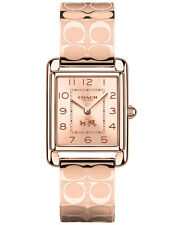 BRAND NEW COACH 14502161 PAGE ROSE GOLD-TONE STEEL ETCHED BANGLE WOMEN'S WATCH