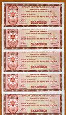 LOT Bolivia, 5 x 5,000,000 (5000000) Pesos Bolivanos, 1985, P-193, UNC