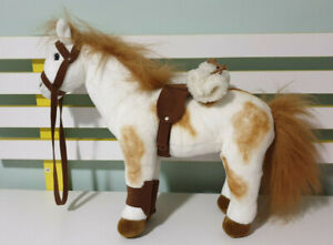BOCCHETTA HORSE WITH SADDLE AND ROLL STUFFED ANIMAL 34CM TALL WHITE HORSE