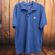 New Express Mens Blue White Lion Short Sleeve Classic Polo Shirt Size L