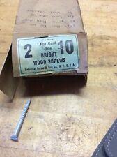 "Vintage 2"" X #10 Flat Head Iron Bright Wood Screws Universal Screw & Bolt Co."