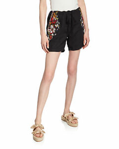 Johnny Was M Linen Shorts  Embroidered Black Floral Drawstring Waist Sweet  NWT