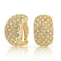 Pave Basket Weave Hoop Clip On Earrings Ears 14K Gold Tone Plated