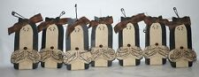 Cat ornaments 7 pc hand cut and painted rustic wood wooden