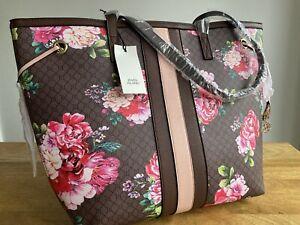 River island brown flower monogram RI shopper tote bag handbag new with tags