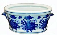 Blue & White Porcelain Foot Bath Planter - Chinoiserie Jardiniere