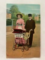 Early Era Postcard (c. 1901-1907) Bamforth & Co.- Couple with Baby Carriage