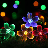 30/50LED 6M 7M Cherry Blossoms Flower String Fairy Lights Christmas Party Solar