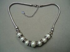 Pearl Rhinestone Spacer Bead Necklace Vintage High Quality Large Luster