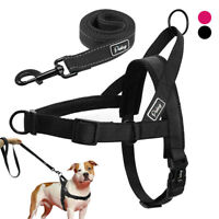 No Pull Front Leading Dog Harness and Lead Set Reflective Strong Stripe Harness