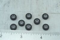 Busch 8 Large Size Rubber Tires w/ Rims for SUV- Pick Up - 4 X 4 - 1:87 HO Scale
