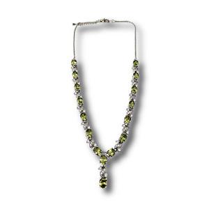 White Gold Finish Created Diamond Peridot Oval Cut Beautiful Necklace
