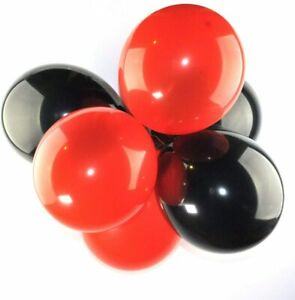 """20 Pack of 12"""" Black/Red Latex Balloons Kid Birthday Party Decor Metallic Color"""