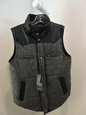 American Stitch 100% Polyester Black & Gray W/Faux Leather Vest -  Sz-M