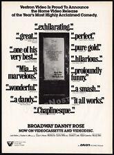 BROADWAY DANNY ROSE__Original 1984 print AD__video movie promo__WOODY ALLEN