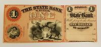 $1 STATE BANK of MICHIGAN OBSOLETE REMAINDER BANKNOTE CURRENCY ca 1850s Lot #958