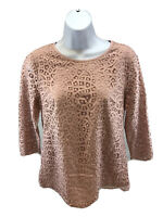 J.Crew Women's Pink Lined 3/4 Sleeve Lace Top Blouse Sz 6