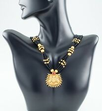 22k KDM Yellow Gold Pendant w/ Gold and Black Bead Strands Necklace 20 inches