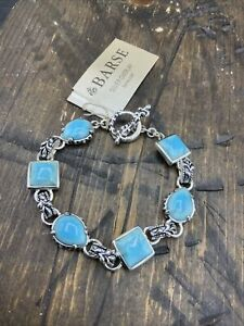 Barse Jubilee Toggle Bracelet - Turquoise Howlite & Silver Overlay-NWT