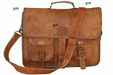 Vintage Messenger Laptop Briefcase Real Satchel Bag Artisan Goat Leather Genuine