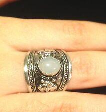 Ring Silver Moonstone Gemstone Hippie Boho Gypsy Folk Tribal Bohemian R1025