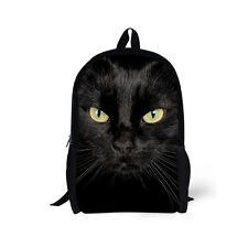 "17"" High School Bags Teenage Girls Black Cat Rucksack Backpack Shoulder Book Bag"