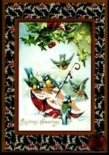 Vintage Christmas Blue Birds Umbrella Snow Holly Christmas Greeting Card Unused