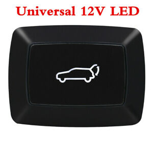 Car Rear Trunk Lock Door Tailgate Release Switch Button Tail Lamp Red LED Light