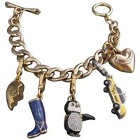 Juicy Couture Chunky Gold Tone 3D Charm Statement Link Bracelet