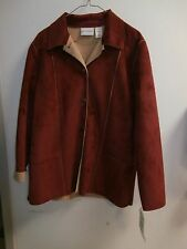 ALFRED DUNNER  sz 14 JACKET- RED/RUSSET SOFT FEEL NWT/suede feel