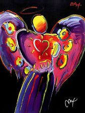 PETER MAX POSTER -BLACK  ANGEL WITH HEART COOL AND COLORFUL-FACSIMILE SIGNED 114