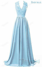 Long Chiffon Lace V-Neck Bridesmaid Formal Gown Ball Party Evening Prom Dress