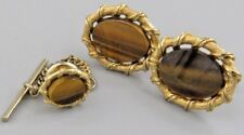 Excellent Mens Tiger Eye CUFFLINKS Costume Vintage Jewelry L 74