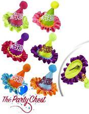 HAPPY BIRTHDAY MINI CONE NEON HAT Birthday Mini Hat Hair Clip Party Accessory