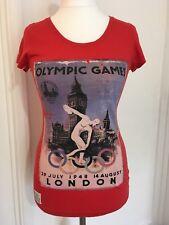 NEXT UFFICIALE 2012 Retro London Olympics 1948 POSTER WOMEN'S red t-shirt UK6