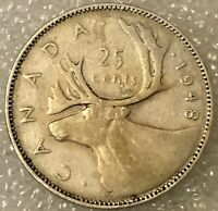 1948 CANADA 🇨🇦 SILVER 25 CENTS QUARTER KING GEORGE VI, free combined S/H