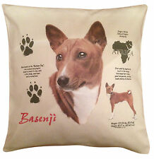 More details for basenji history cotton cushion cover - cream or white cover - gift item