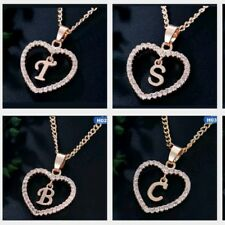 Personalized Name Initial Letter Necklace Rose Gold Color Crystal Heart Love