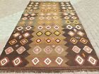 "Vintage Turkish Kilim, Brown Colored Rug 71""X120"" Area Rugs, Kelim, Carpet Tapis"