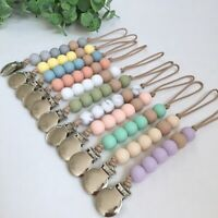 Silicone Beads Dummy Pacifier Chain Clips Baby Sensory Teething Soother Holder