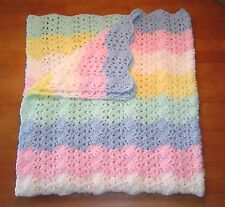 New Blue White Green Pink Yellow  Crochet Baby Blanket