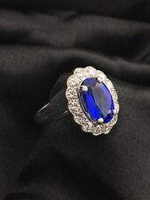 18k White Gold Tanzanite 4.73 cwt Oval Shape, Diamonds Lady's ring